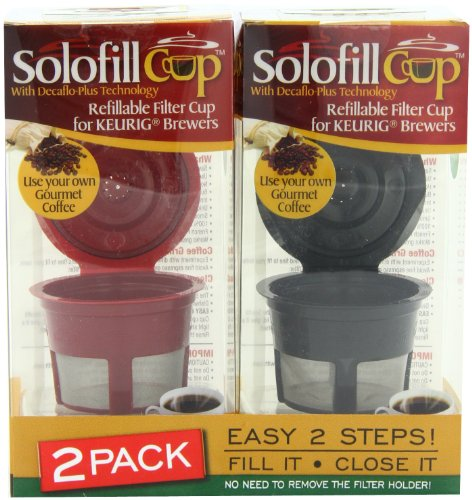 Solofill  Cup, Refillable Cup For Keurig Single serve cups Brewers, Red and Black (Pack of - Cup Solofill