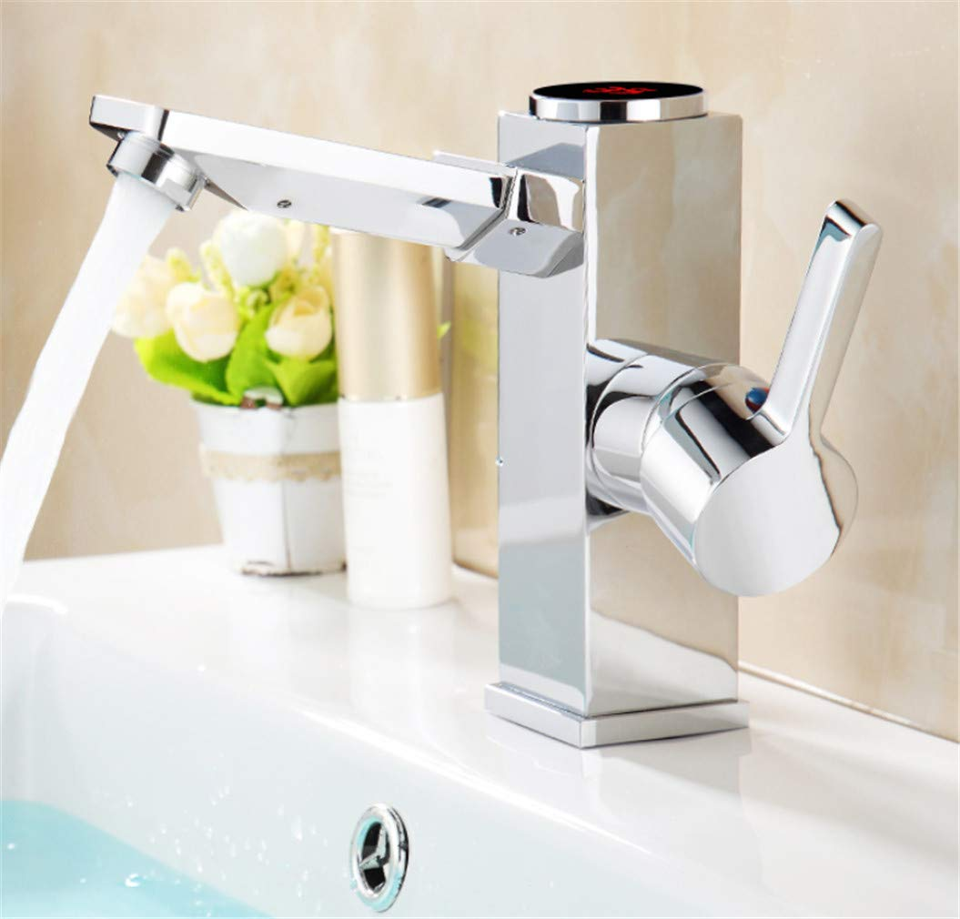Faucet Modern Luxury Led Digital Basin Faucet Water Power Basin Mixer. Solid Brass Chrome Plated Temperate Display Faucet Smart Tap
