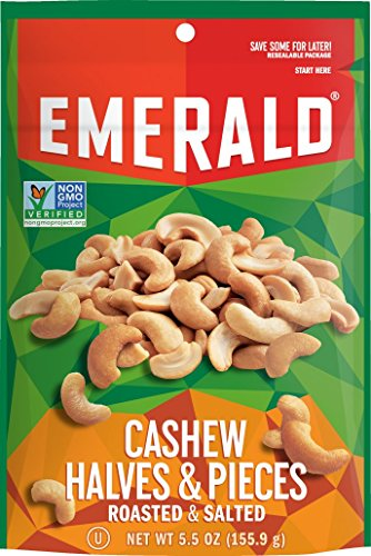 Emerald Cashew Halves and Pieces Roasted & Salted Nuts, Stand Up Resealable Bag, 5.5 Ounce
