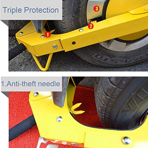 Homself Wheel Lock Heavy-Duty Car Tire Steel Anti-Theft Wheel Clamp Lock for Auto Car Truck SUV ATV RV