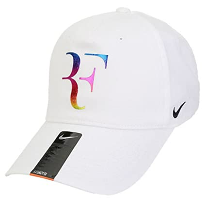 NIKE Champion Legacy Roger Federer Tennis Cap Dri-FIt Adjustable Sports Hat  (White with Neon Signature Logo   Black Embroidered Swoosh) 3471b3c24ca