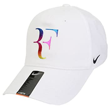 NIKE Champion Legacy Roger Federer Tennis Cap Dri-FIt Adjustable Sports Hat  (White with Neon Signature Logo   Black Embroidered Swoosh) 3327174658c