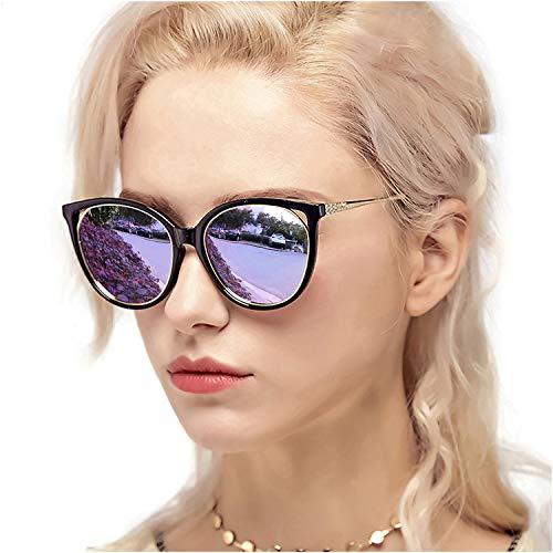 Myiaur Fashion Cat Eye Sunglasses Women, Polarized Mirror Glasses, Stylish Style Design, for UV Protection/Driving/Outdoor(Black Cateye Frame Purple Mirror ()