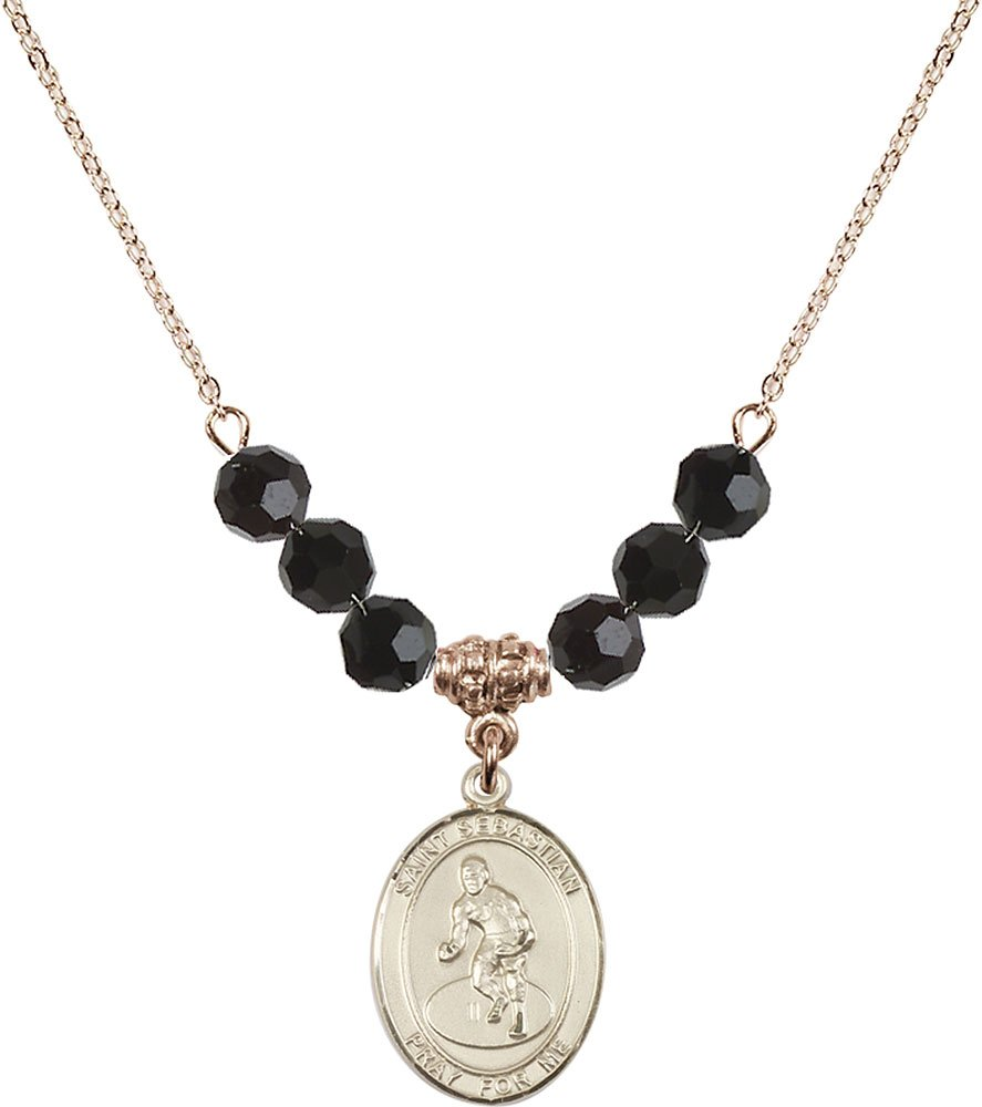 Gold Plated Necklace with 6mm Jet Birthstone Beads & Saint Sebastian/Wrestling Charm.
