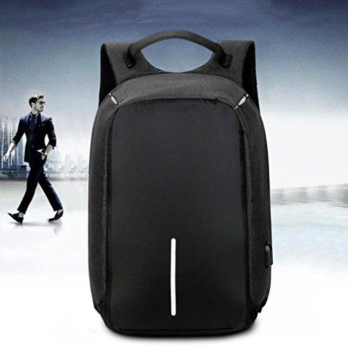 LWT - zaini, zaino della tela di canapa borsa del sacchetto del libro del computer portatile sacchetto dello zaino della cartella (nero) (formato: 14 pollici)