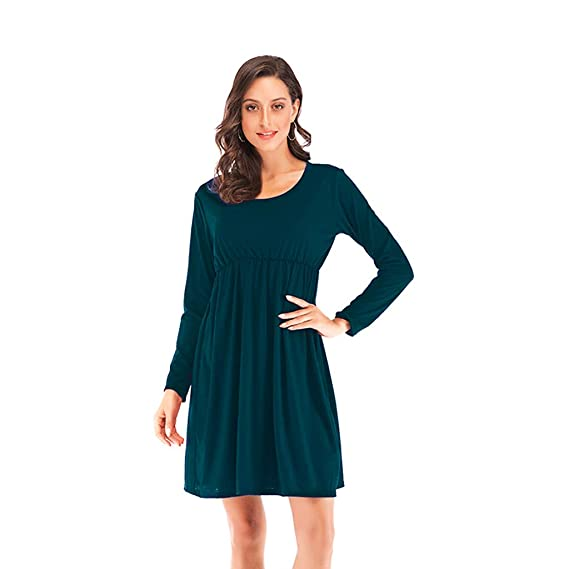 Womens Casual O Neck Long Sleeve Tunic Pleated Swing Midi T ...