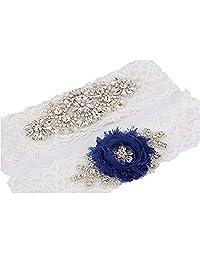 "2016 New TRLYC 2""Wide*18""Length Bridal Garter Navy Blue Wedding Lace Garter Set"