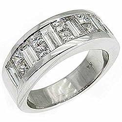 18k White Gold Men's Invisible Set Princess & Baguette Diamond Ring 3.50 Carats