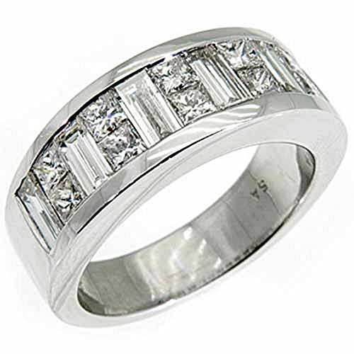 18k White Gold Mens Invisible Set Princess & Baguette Diamond Ring 3.50 Carats