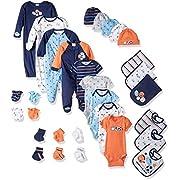 Gerber Baby Boys 30 Piece Essentials Gift Set, Lil Athlete, 0-3M: Onesies/Sleep 'n Play/Sock/Mitten, 0-6M: Gown/Cap, 0-6 Months One Size: Bib/Burp