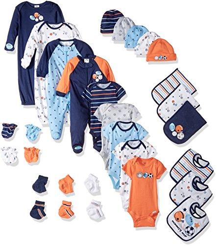 3 Set Piece Mitten (Gerber Baby Boys' 30-Piece Essentials Gift Set, Little Athlete, Newborn)