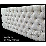 New Stylish Crush Velvet Bedworth Diamonte Headboard - ALL Sizes & Colours in Stock (Cream, 4FT) by Living Style