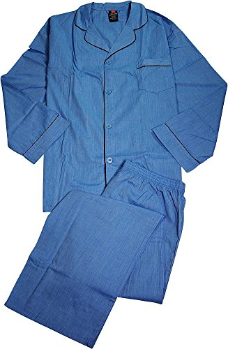 Hanes - Mens Big Broadcloth Plaid Pajamas, Blue ()