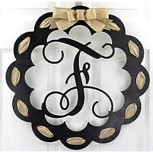 Letter F - Monogrammed Door Hanger | Mom Gift | Black and Burlap Everyday Year Letter Door Hanger 56