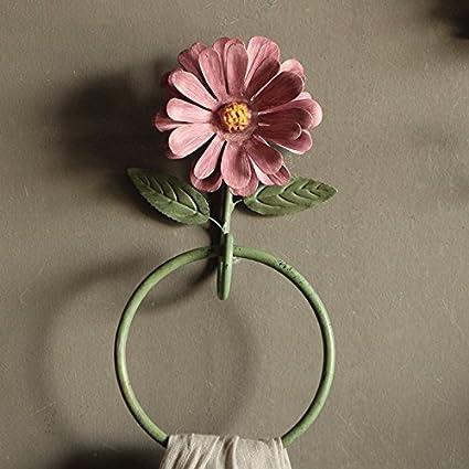 Hlluya Toallero Flores Creativas Gancho Colgador de Hierro Antiguo Hyun tecla Off Estante colgado en la