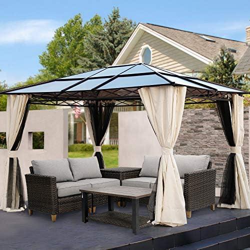 Grand patio 10×12 FT Outdoor Hardtop Gazebo Single Roof Pergolas Metal Aluminum Frame Polycarbonate Top Canopy 99 UV Rays Block