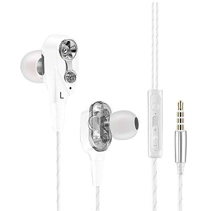 Auriculares compatibles con Xiaomi Mi A2 con microfono Dual Dynamic Drivers in-Ear Estereo Control Volumen cancelacion Ruido (Blanco)