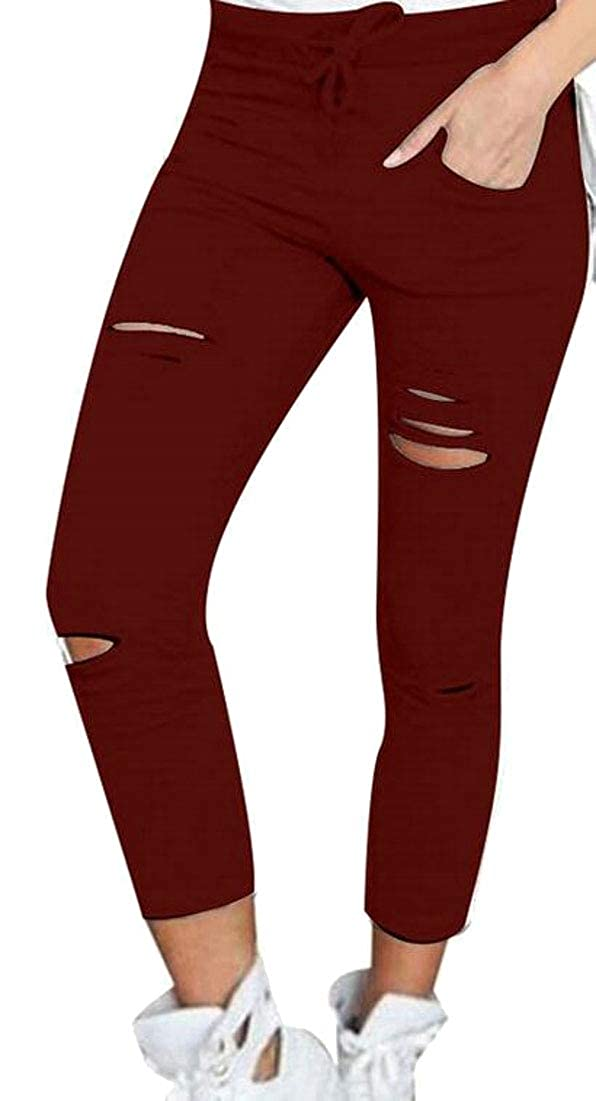 desolateness Womens Long Casual Destroyed Skinny Jean Pant Basic Distressed Jean