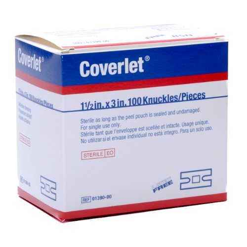 Coverlet Knuckle Fabric Adhesive Bandages 1 1/2'' x 3'' (Box of 100) by BSN