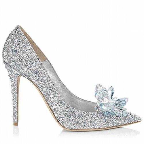 Zapatos de Tacón Alto con Pedrería Blanca UN