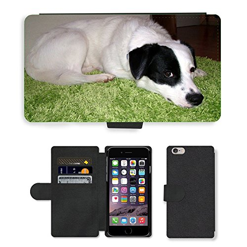"Just Phone Cases PU Leather Flip Custodia Protettiva Case Cover per // M00128950 Black Dog Pet Blanc animal de race // Apple iPhone 6 PLUS 5.5"""