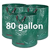 BTSD-home 3 Pack 80 Gallon Garden Bag Reusable Lawn Leaf Bags Heavy Duty Garden Waste Bags Storage Bag