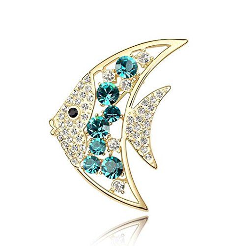 - Blingbling Jewelry Gold Plated Austria Crystal Lovely Fish Brooches Pins for Women 3.9*3.0cm (Blue)