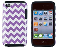 DandyCase 2in1 Hybrid High Impact Hard Purple & White Chevron Pattern + Silicone Case Case Cover For Apple iPod Touch 4 4G (4th generation) + DandyCase Screen Cleaner