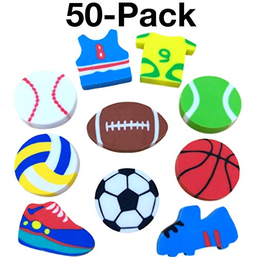OHill Pack of 50 Sports Pencil Erasers Novelty Erasers for Sports Party Favors Supplies School Classroom Rewards Pinata Fillers Carnival Prizes for $<!--$7.95-->