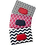 Be Bundles Wet Wipes Pouch VERSION 2 - NEW replacement snap-on lid included, 3-Pack, Pink Lattice/Navy Chevron/Black Geometric - VINYL FREE (EVA and PVC)!!