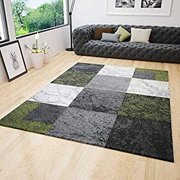 Wohnzimmer Teppich Modern Kurzflor Kariert Grün Grau Creme Meliert ...
