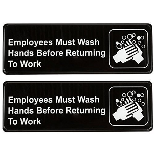 "Employees Must Wash Hands Before Returning to Work Sign (Pack of 2) Black and White, 9"" x 3"" • Great for For Restaurants, Salons, Hotels and Motels, Gas Stations, Rest Stops, and Others from SignsPro"