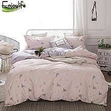 Enjoylife Animal Cartoon 100% Pure Cotton Reversible 3PCS Bedding Set Printing Duvet Cover Super Soft for Kids Teens Adults Cute Alpaca Full Queen Size