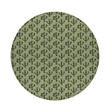 iPrint Cotton Linen Round Tablecloth,Cactus,Mexican Inspired Indigenous Foliage Abstract Chevron Nature Theme Decorative,Green Pistachio Green Caramel,Dining Room Kitchen Table Cloth Cover