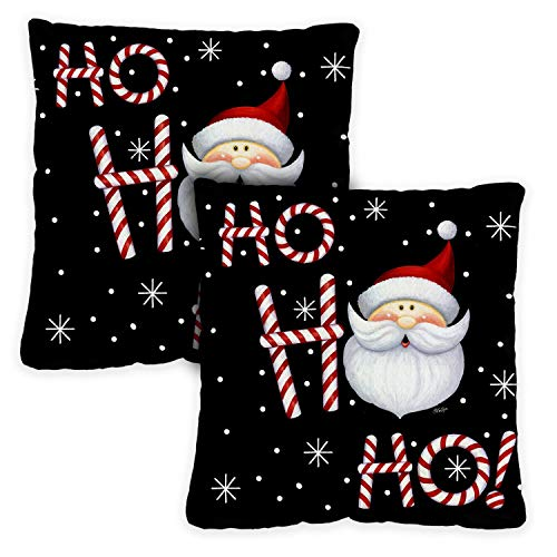 Toland Home Garden Decorative Ho Ho Ho Santa Winter Christmas Xmas Text Holiday Saying Seasonal Word 18 x 18 Inch Pillow Case (2-Pack) from Toland Home Garden