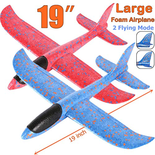 Qvatox 2 Pack Large Throwing Foam Airplane 19