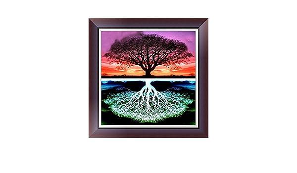 Creativa pintura de punto de árbol, juego de 5D, bordado ...