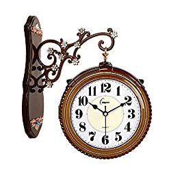CLOCK HAOFAY Double-Sided Wall, 16 Inches / 40 cm, European Creative Fashion Two-Sided, Vintage Garden Mute (Color : Imitation Wood)
