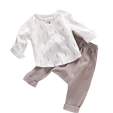 267baafdb7e0 ALLAIBB Little Boy Girl Japanese Linen Suits Long Sleeve Floral Printed Top  Pants  Amazon.co.uk  Clothing