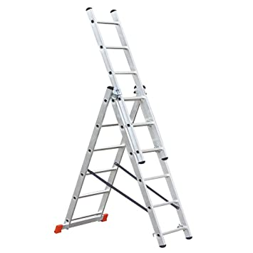 Sehr Aluminium-Vielzweck-Leiter, 3 x 6 Sprossen, Arbeitshöhe bis 4210  GC78