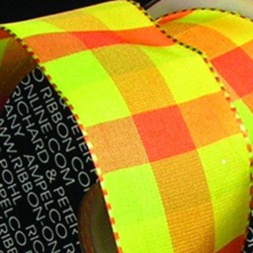 Orange and Green Gingham Woven Taffeta Wired Craft Ribbon 1.5
