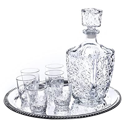 Klikel Dedalo 8-piece Whiskey Drinkware Barware Drink Set With 6 Double Old Fashioned Glasses, Silver-plated Round Mirror Tray And Star Design Square Decanter