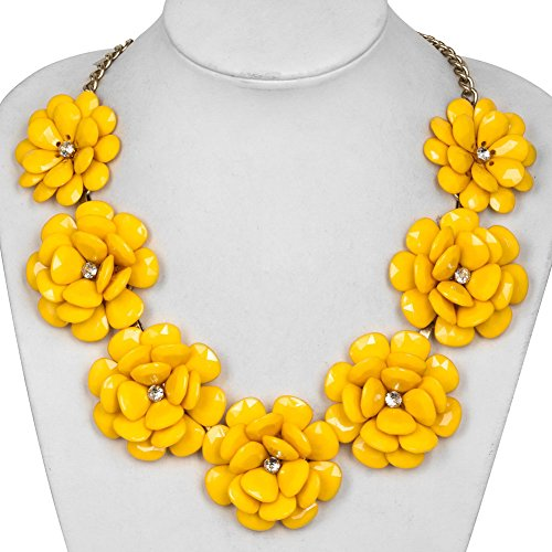 LovelyJewelry Fashion Yellow Flower Statement Necklaces Golden Chain Chunky Bubble Pendant For