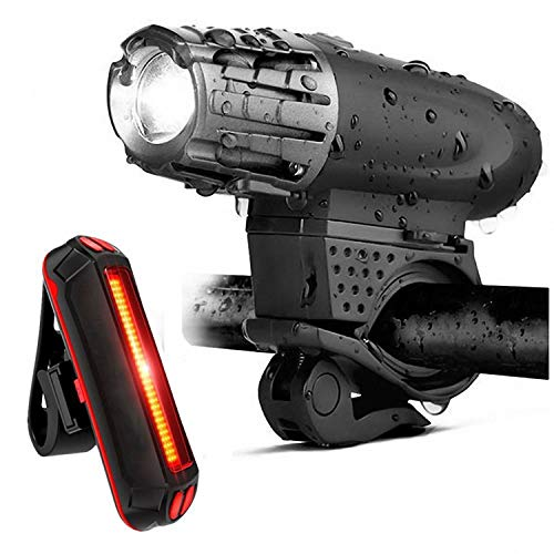Algol - Bike Lights Bicycle Lights Front and Back USB Rechargeable Bike Light Set Super Bright Front and Rear Flashlight LED Head