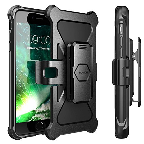 iPhone 8 Plus Case, i-Blason Transformer [Kickstand] Apple iPhone 8 Plus 2017 [Heavy Duty] [Dual Layer] Combo Holster Cover case with [Locking Belt Swivel Clip] (Compatible with iPhone 7 Plus)(Black) by i-Blason (Image #6)