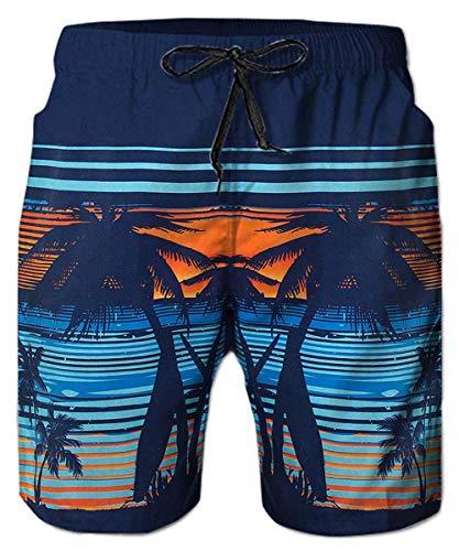 Freshhoodies Men's 2019 Summer Swim Trunks Hawaiian Board Shorts Funny Vacation Beach Shorts with Mesh Lining (Style A5, Medium)
