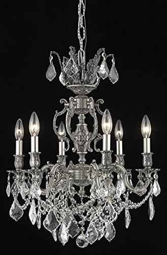 OmniLucent ARCD20PW-28518 Milan Collection Chandelier with 6 Lights and Clear Crystals 20