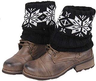 VEA-DE Calzini da Gamba Calda, Calzini a Maglia Europei e Americani Snowflake Short Woolen Warm Boots Flip Fashion Foot Covers (Colore: Nero)