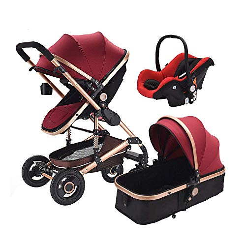 Baby Stroller Buggy 3 in 1 Newborns High Landscape Travel System Infant Pushchair with Folding Car Seat (Red) (Best Pushchair Travel System)