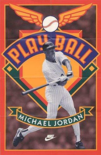 Michael Jordan 1994 Nike Play Ball Baseball Vintage Poster 23 x 35 Size